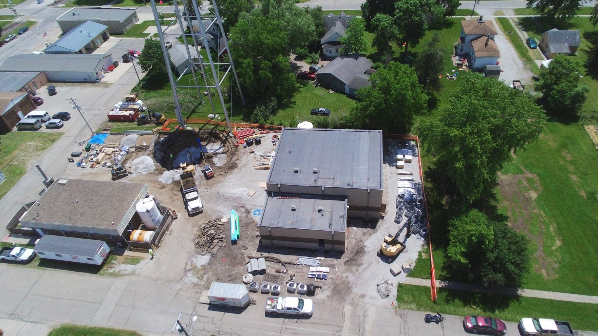 aerial of new water plant and old water plant side by side