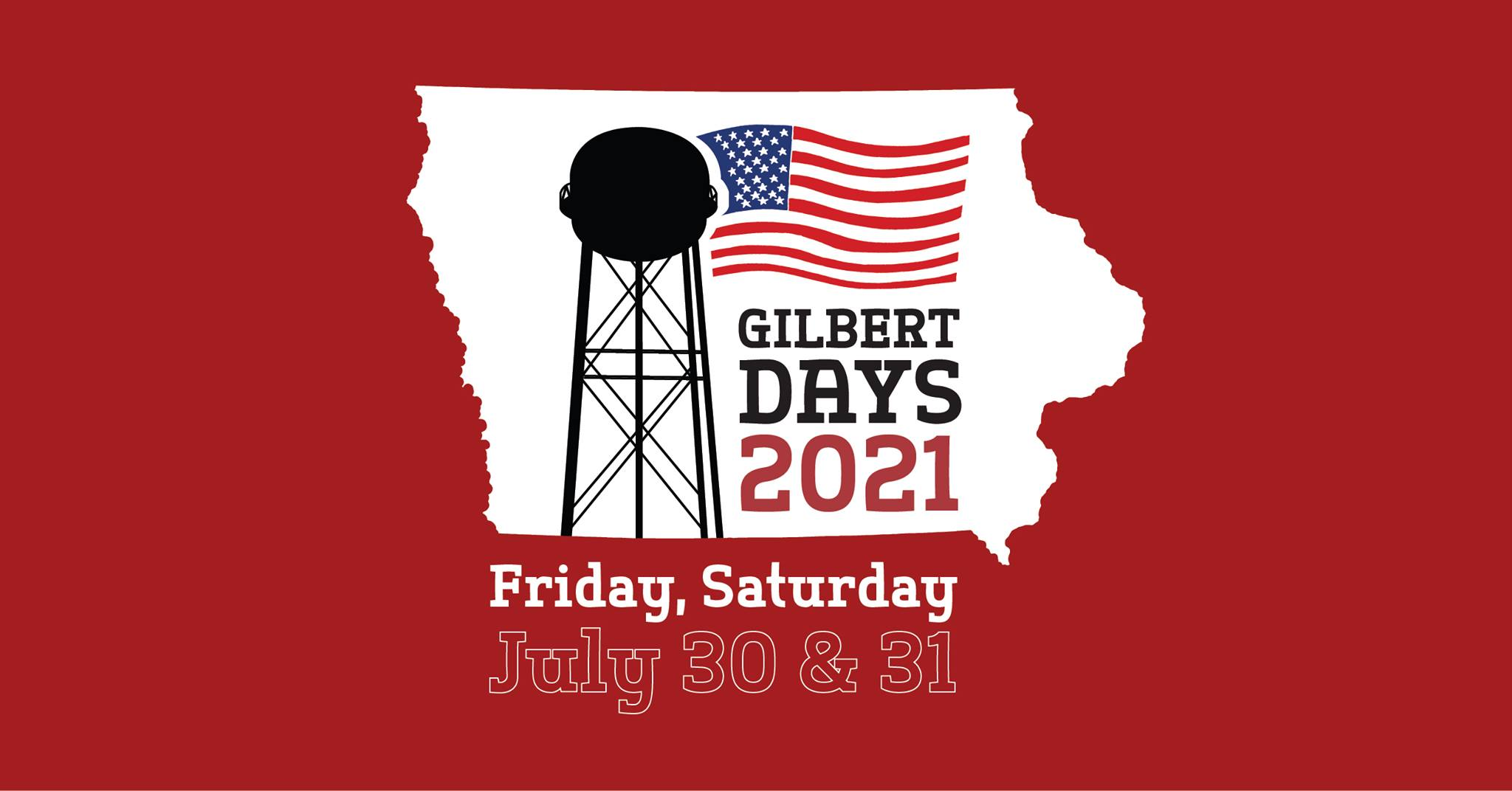 red background, white image of state of iowa with a silhouette of a water tower and american flag.
